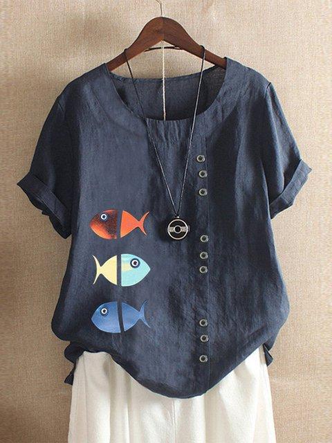 Short Sleeve Fish Printed Crew Neck Shirts & Tops