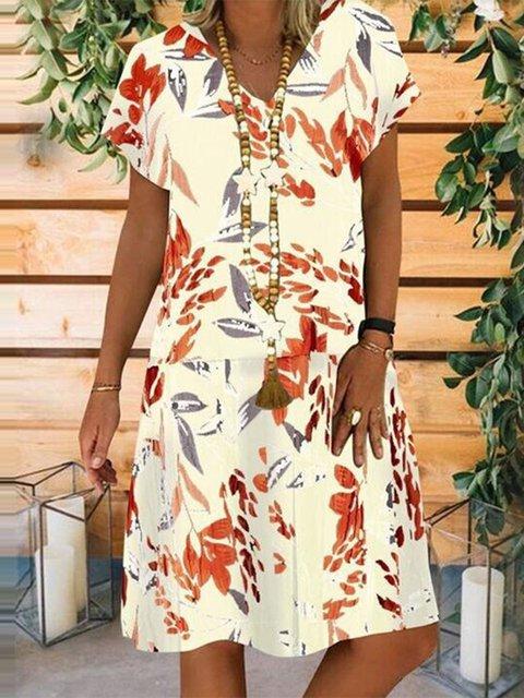 V Neck Daily Leaves Dresses