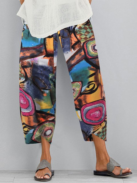Multicolor Cotton-Blend Printed Casual Pants