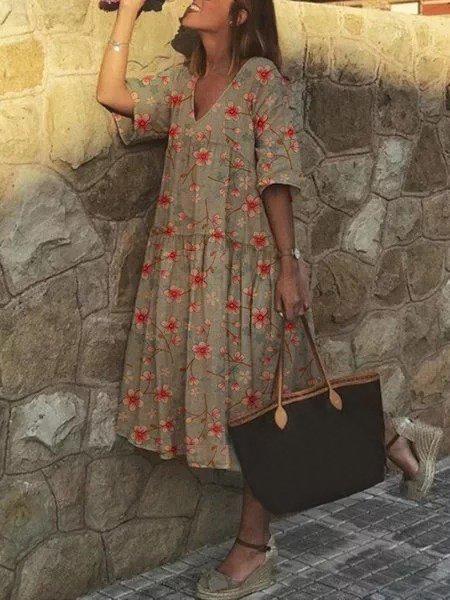 Plus Size Women Short Sleeve V Neck Vintage Floral Casual Dresses