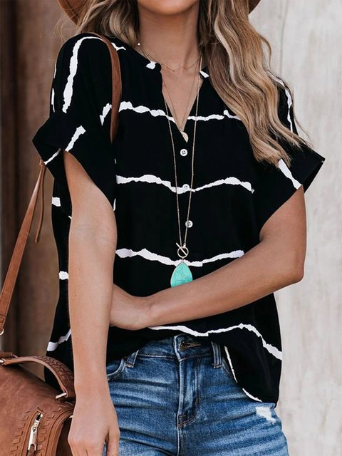 Black Striped Printed Casual V Neck T-Shirts