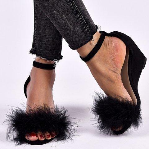 Artificial Fur Adjustable Buckle Open Toe Wedge Heel Slippers