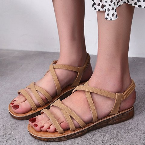 Slip-On Artificial Leather Flat Heel Plus Size Sandals