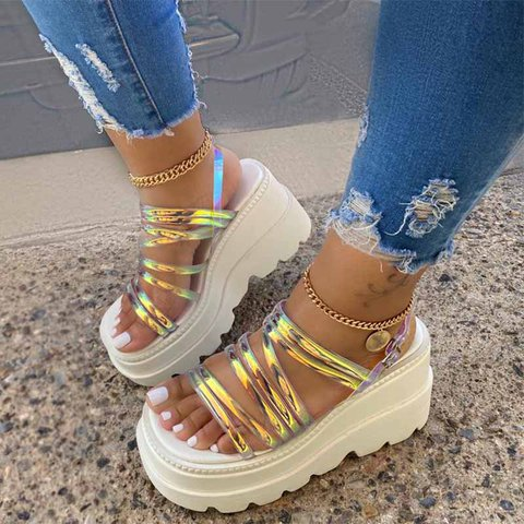 Color Summer Wedge Heel Pvc Sandals