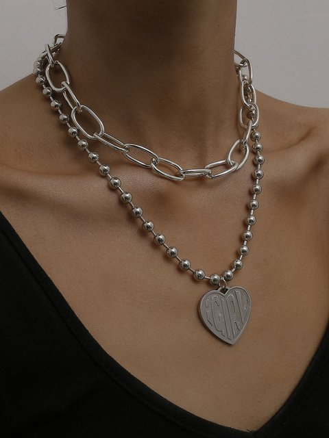 Women As Picture Heart Multi-layer Necklaces