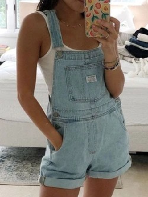 As Picture Sleeveless Denim One-Pieces