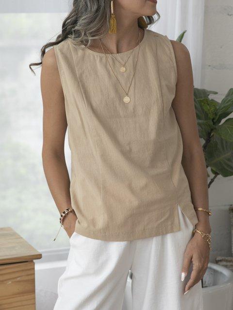 Khaki Plain Casual Sleeveless Shirts & Tops