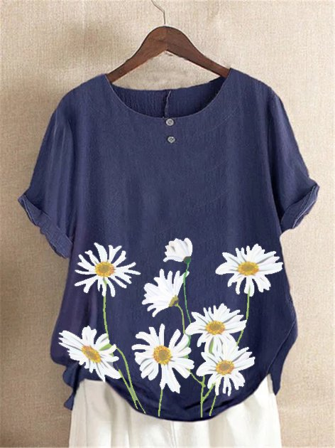 Blue Cotton Short Sleeve Floral Shirts & Tops
