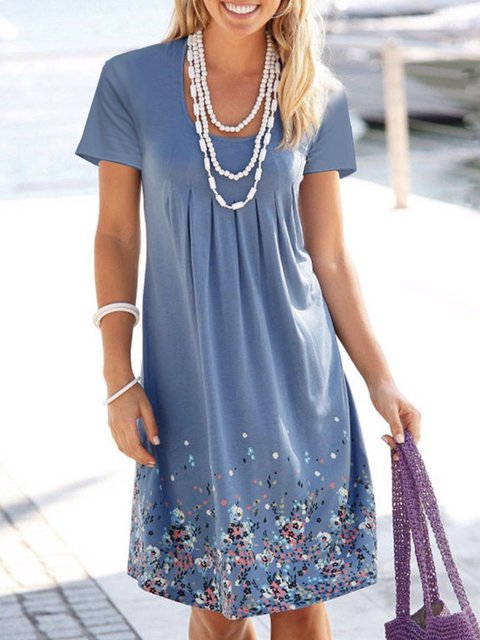 Casual Holiday Floral A-Line Short Sleeve Dresses