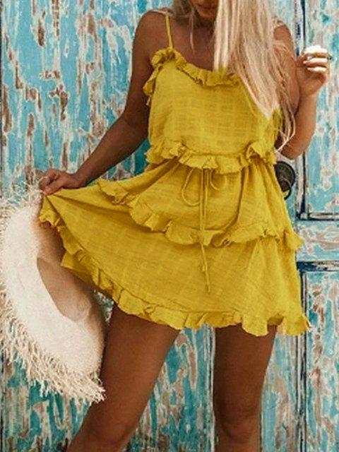 Yellow Boho Flounce Linen Dresses