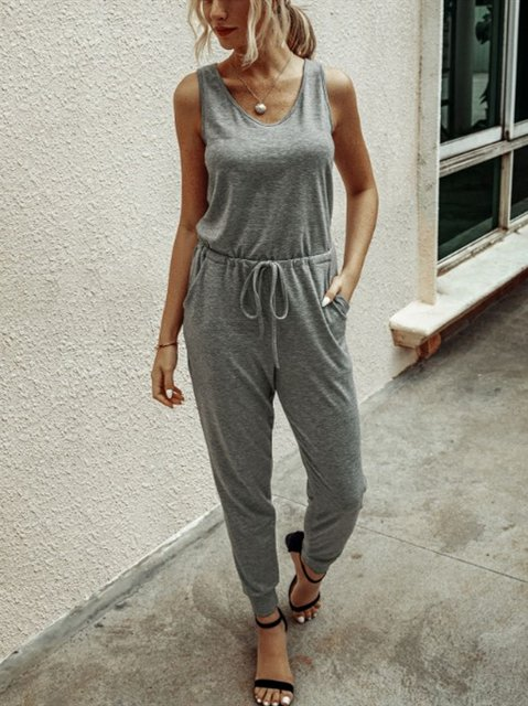 Cotton-Blend Casual Sleeveless One-Pieces Jumpsuits