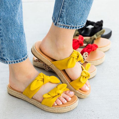 Bowknot Cloth Upper Platform Summer Slide Sandals