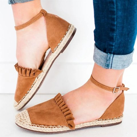Low Heel Artificial Suede Espadrille Closed Toe Ankle Strap Sandals