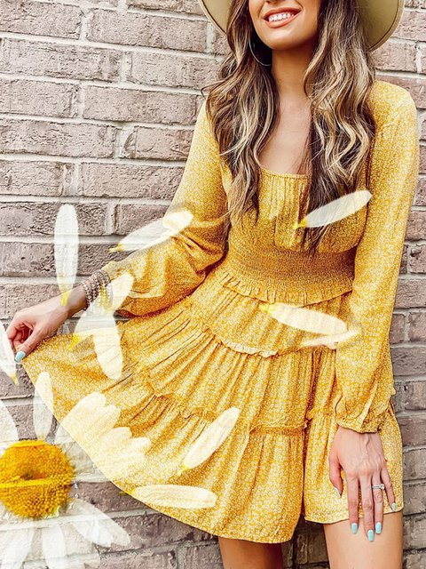 Yellow Floral Square Collar Long Sleeve Dress
