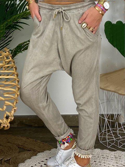 Khaki Plain Casual Lace-up Pockets Pants