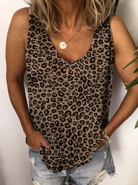 Round Neck Floral-Print Cotton-Blend Sleeveless Shirts & Tops