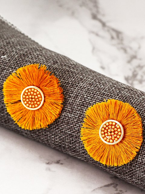 Bohemian sunflower tassel earrings