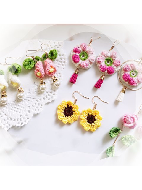 Woven crocheted lily sunflower rose pearl earrings