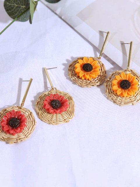 Sunflower rattan flower earrings