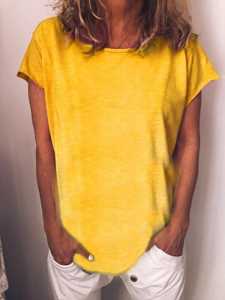 Yellow Short Sleeve Casual Shirts & Tops