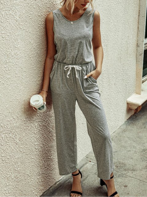 Casual Sleeveless Crew Neck Cotton-Blend One-Pieces Jumpsuits