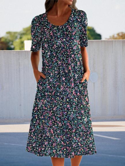 Floral pocket midi dress floral dress