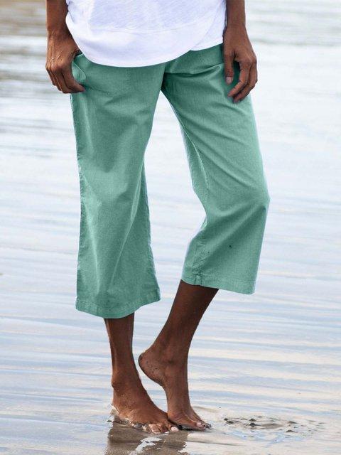 Women Solid Pockets Pants 3/4 Capri Pants.