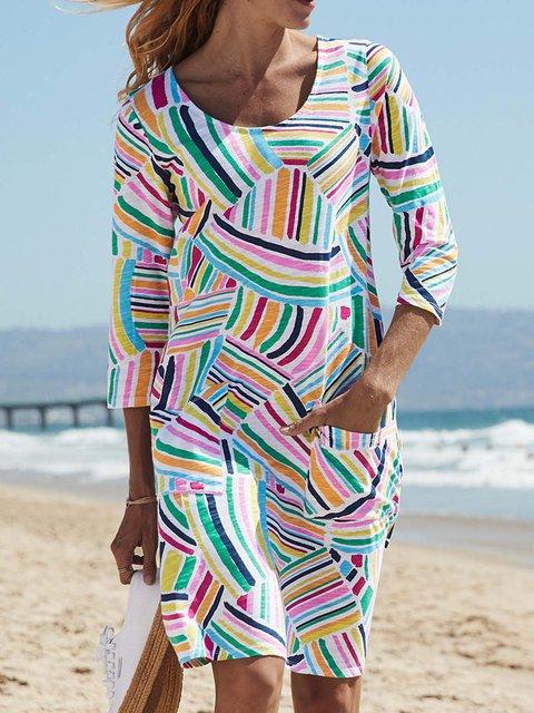 Pockets Mini Dress Plus Size 3/4 Sleeve Dresses