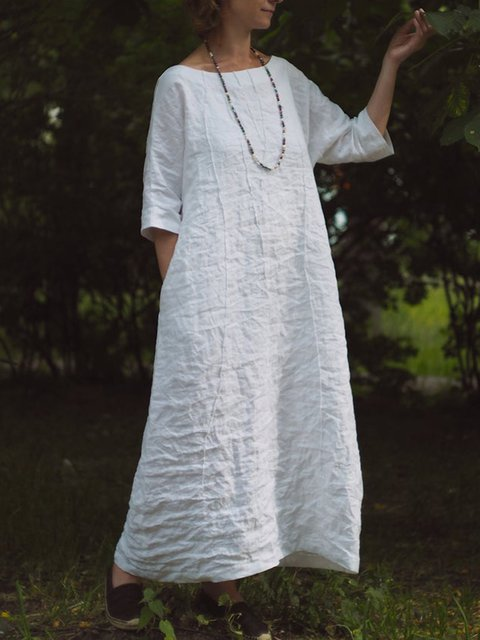 White Plain 3/4 Sleeve Crew Neck Dresses