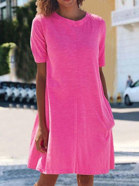 Solid Pockets Mini Dress Summer Short Sleeve Dresses