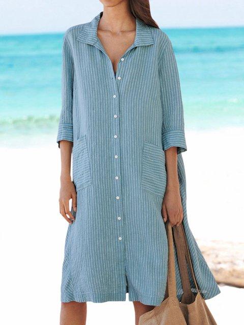 Pockets Shirt Dress Plus Size 3/4 Sleeve Midi Dresses