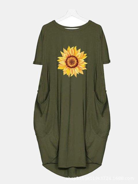 Floral-Print Casual Crew Neck Dresses