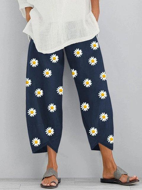 Dark Blue Floral Printed Casual Shift Pants
