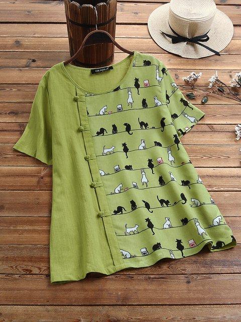 Green Casual Floral-print Animal Shirts & Tops