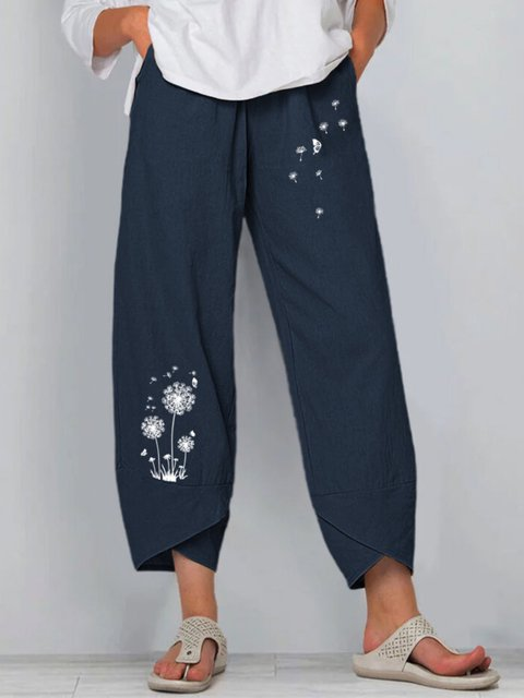 Navy Blue Floral Casual Pants