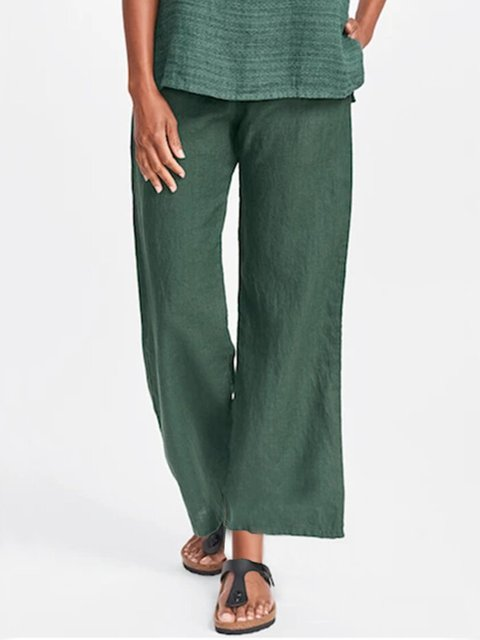 Green Casual Cotton Plain Shift Pants