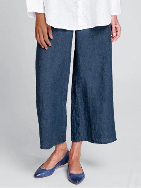 Navy Blue Plain Casual Pants