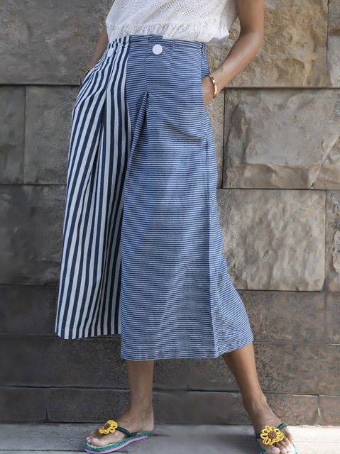 Denim Blue Casual Cotton Printed Stripes Pants