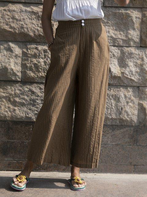 Coffee Holiday Stripes Shift Cotton Pants
