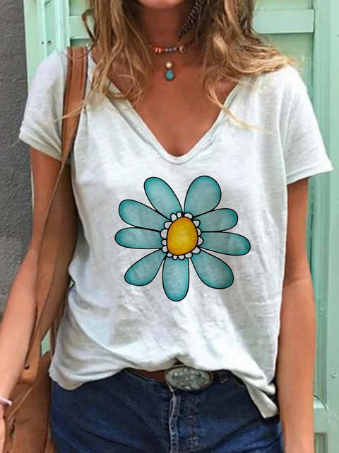 Women Floral V-Neck Summer Casual Tees