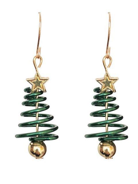 Women Green Mini Tree Metal Earrings