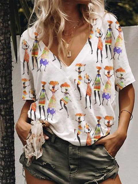 V Neck Printed Casual Short Sleeve Tops