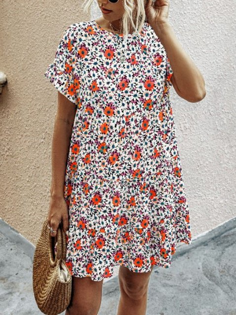Crew Neck Floral Holiday Dresses