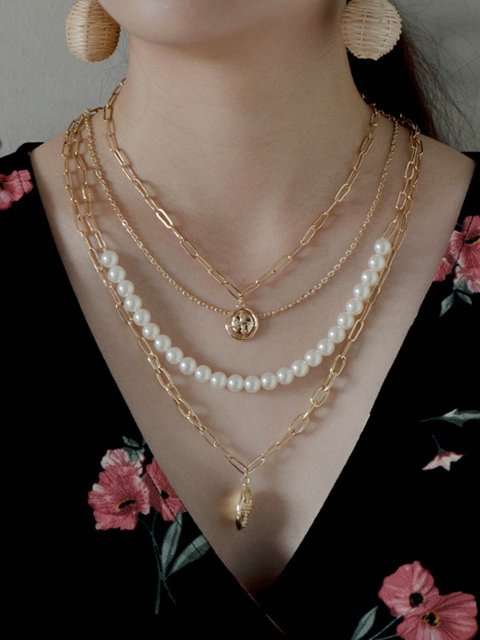 Women Multi-layer Alloy Drop Necklaces