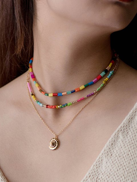 Women Alloy Combination of Freestyle Shell Necklaces