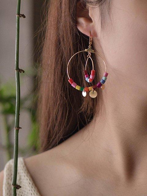 Women Alloy Shell Drop Earrings