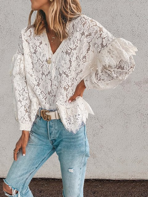 White V Neck Casual Lace Shirts & Tops