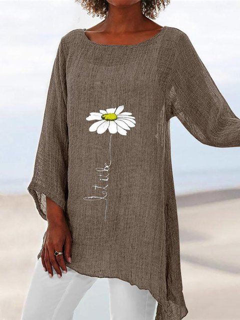Khaki Linen Floral 3/4 Sleeve Casual Shift Shirts & Tops