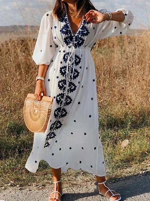 Women Caftan V-Neck Half Sleeves Holiday Dresses