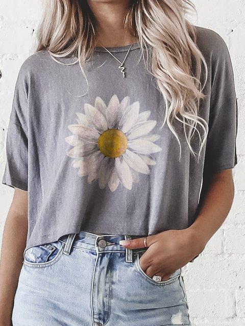 Floral Print Casual Streetwear Slouchy Tops Tee